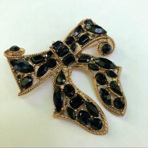 Rhinestone bow vintage brooch pin